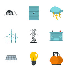 Energy sources icon set flat style vector