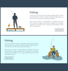 fishing posters set and men vector image