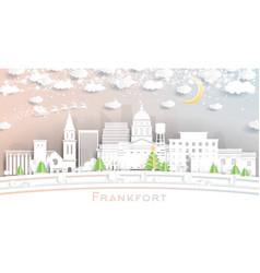 Frankfort kentucky usa city skyline in paper cut vector