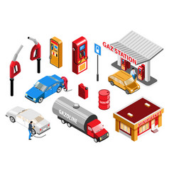 Gas station isometric set vector