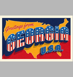 Georgia usa 4th july retro style postcard vector
