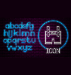 Glowing neon line lederhosen icon isolated on vector