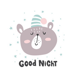 Good night bear vector