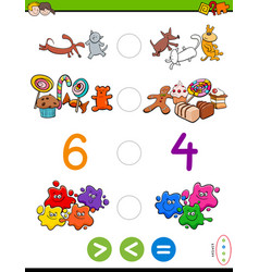 Greater less or equal cartoon game vector