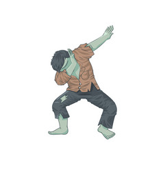 green monster dead man character dancing dab step vector image