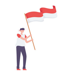 Guy with indonesian flag vector