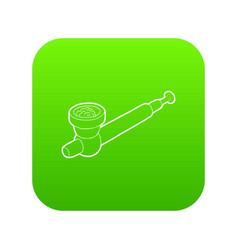 Hashish pipe icon green vector