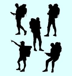 hiker gesture silhouette 04 vector image