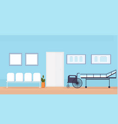 hospital waiting hall with seats bed and vector image
