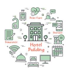 hotel service square concept - hotel vector image