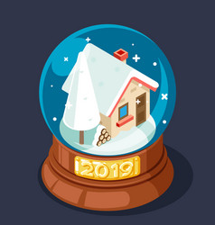 isometric 2019 christmas winter snow covered homel vector image