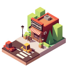 Isometric antique shop vector