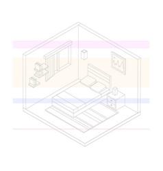 Isometric bedroom outline vector