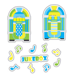 Jukeboxes and musical note cartoon vector