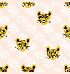 leopard jungle animal seamless pattern vector image