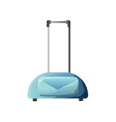 light blue bag for traveling with wheels and vector image