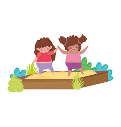 Little chubby girls playing in sand box vector