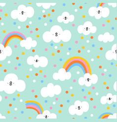 Little clouds and confetti rain on mint pattern vector