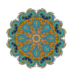 Mandala doodle drawing round ornament blue and vector