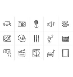 media hand drawn sketch icon set vector image