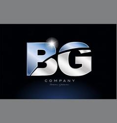 Metal blue alphabet letter bg b g logo company vector