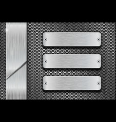 Metal perforated background with steel brushed vector