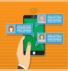 mobile phone chat message notifications vector image