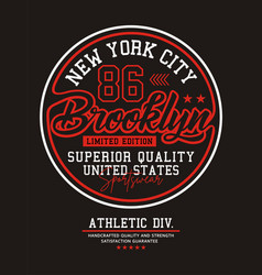 new york city brooklyn 86 typography usa style vector image