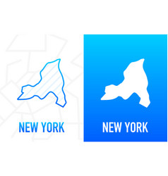 New york - us state contour line in white vector