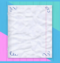 notebook page lined paper colorful background vector image