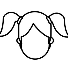 Outlined head faceless girl ponytails image vector