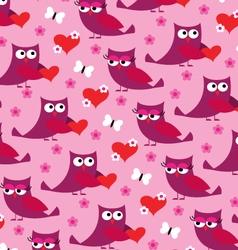 owl valentine pattern vector image