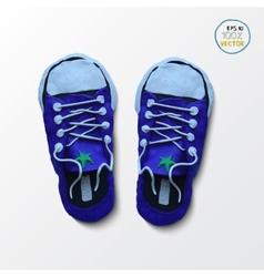 Pair of blue simple sneakers Example gumshoes vector