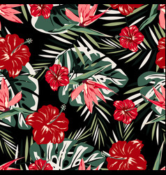pattern with red and pink flowers vector image