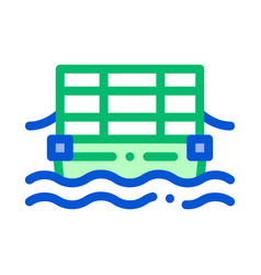 Public transport cable ferry thin line icon vector