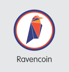 ravencoin - blockchain cryptocurrency coin image vector image