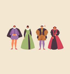 Renaissance people set vector