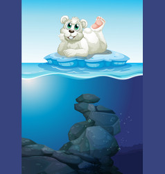 Scene with polar bear and underwater vector