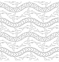Seamless pattern with sharks polynesian symbols vector