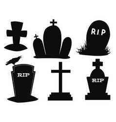 Set gravestones collection black grave vector