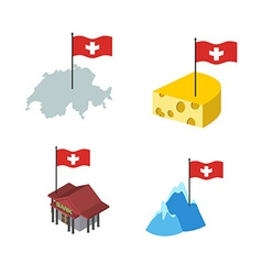 Set icons Switzerland Map and cheese Bank and Alps vector image