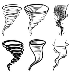set of doodle tornado isolated on white vector image
