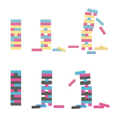 Set of jenga wooden block game vector