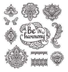 Set of Ornamental Boho Style flowers and elements vector image