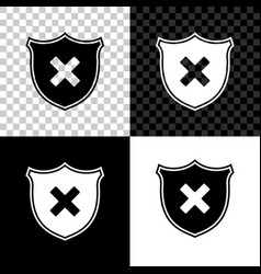 shield and cross x mark icon isolated on black vector image