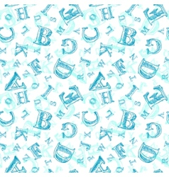 Sketch alphabet seamless pattern vector