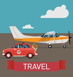 Small plane travel icon with a car vector