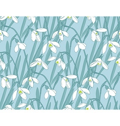 Snowdrops spring seamless background Hand-drawn vector