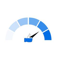 Social network popularity indicator blue arrow vector
