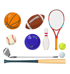 Sports equipment in cartoon style balls vector